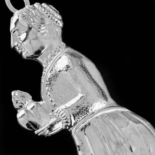 Ex voto donna in ginocchio argento 925 o metallo 12 cm s2