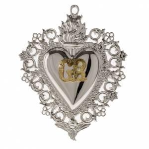 Ex-voto en coeur flamme ange 9.5x7.5 cm s1