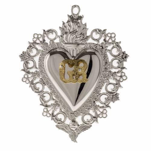 Ex-voto, Votive heart with angel 9.5x7.5cm s1