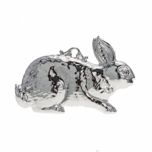 Exvoto coniglio argento 925 o metallo 10x6 cm s1