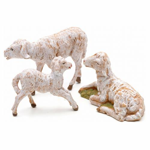 Familia de ovejas 3 pz cm 12 Fontanini pvc s2