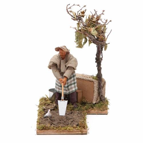 Farmer with tree animated Neapolitan Nativity figurine 12cm s1