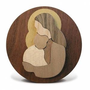 Favorable rond en bois, vierge avec enfant s3