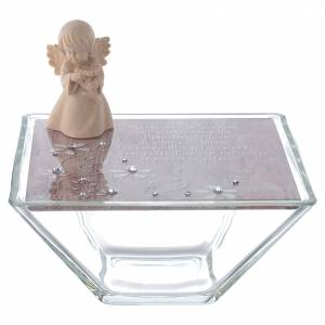 Bonbonnière: Favour Box in pink glass 14x14cm with angel in wood