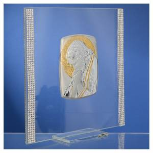 Bonbonnière: Favour with image of Christ in silver and rhinestones 17.5x17.5cm
