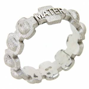 Anelli preghiera: Fedina rosario MATER sabbiata argento 925