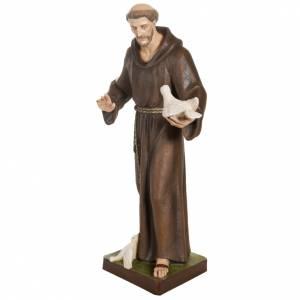 Fiberglas Statuen: Fiberglas Heiliger Franziskus mit Tauben 80 cm