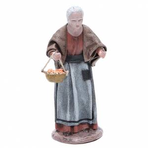 Figura belén terracota anciana señora con cesta 17 cm s1