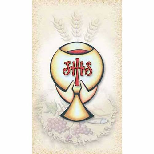 First Communiion holy card, Chalice IHS s1