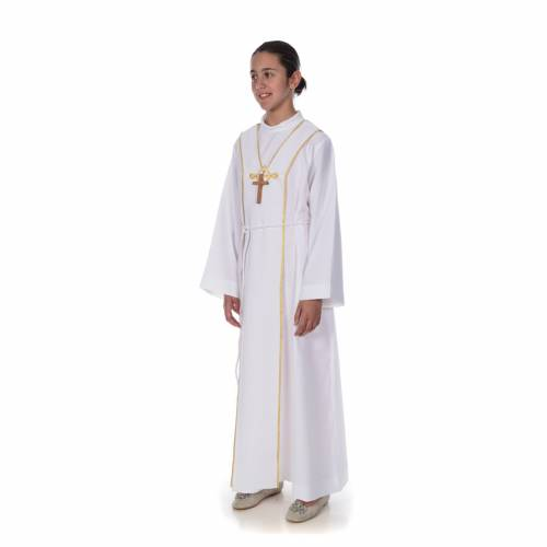 First Communion alb, with embroidered stole s2