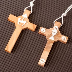 Wooden cross pendants: First Communion olive wood cross