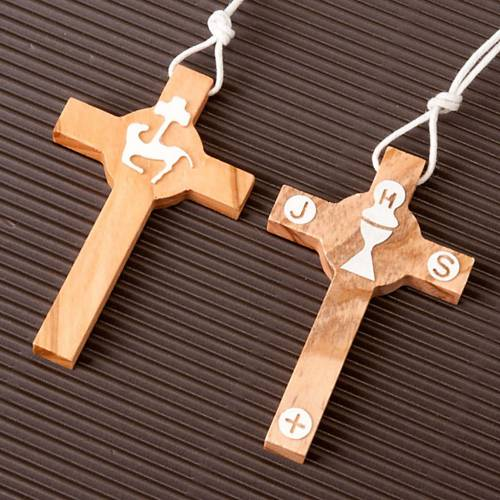 First Communion olive wood cross s2