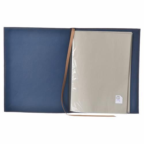 Folder for sacred rites in bleu leather, hot pressed golden lamb Bethleem, A4 size s3
