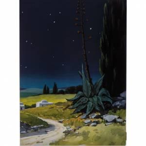 Fond crèche de Noel paysage, triptyque bois 200x70 s4
