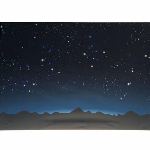 Fond lumineux crèche de Noel ciel et montagnes 70x55cm s2
