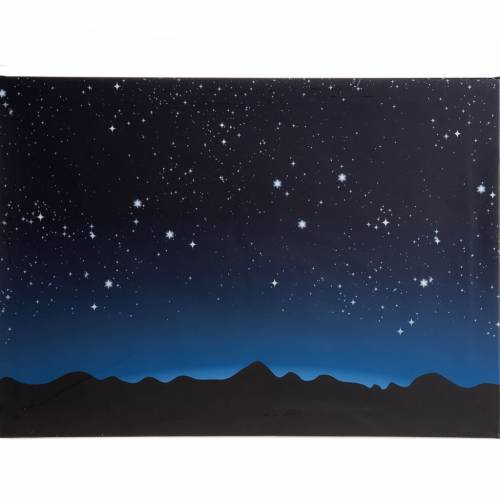 Fond lumineux crèche de Noel ciel et montagnes 70x55cm s1