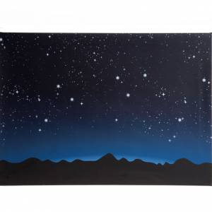 Fondos y pavimentos: Fondo luminoso con cielo y montañas con luces LED 70x50cm