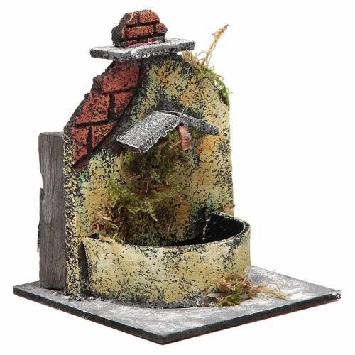 Fontaine crèche Naples en bois et liège 16x14,5x14 cm s3