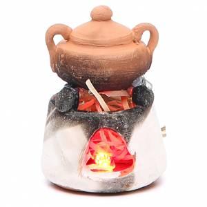 Forno in ceramica con luce rossa per presepe s1