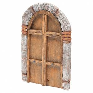 Front Door arched in wood for nativity 22x14cm s2
