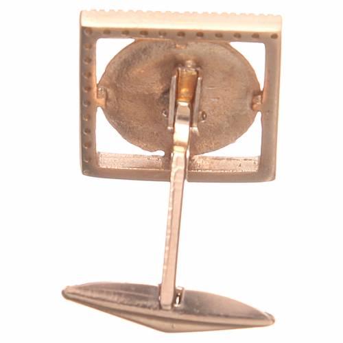 Gemelli gioielli argento 800 rosè simbolo PAX 1,7x1,7 cm 2
