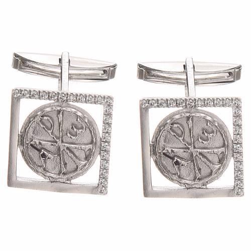 Gemelli gioielli argento 800 Simbolo PAX 1,7x1,7 cm s3