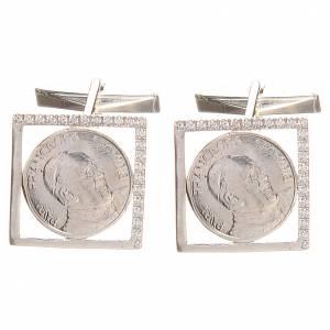Gemelos joyas plata 800 rodiada Papa Francisco 1,8x1,8 cm s1