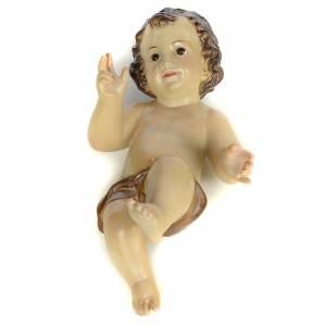 Gesù Bambino 25 cm in pasta di legno dec. brunita s1
