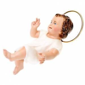 Statue Gesù Bambino: Gesù Bambino pasta legno cm 15  benedicente dec. elegante