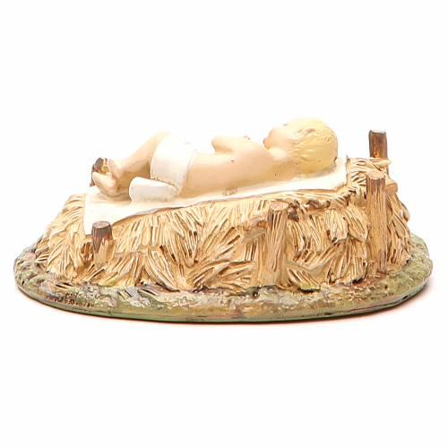Gesù Bambino con culla in resina dipinta per presepe cm 16 Linea Landi s3