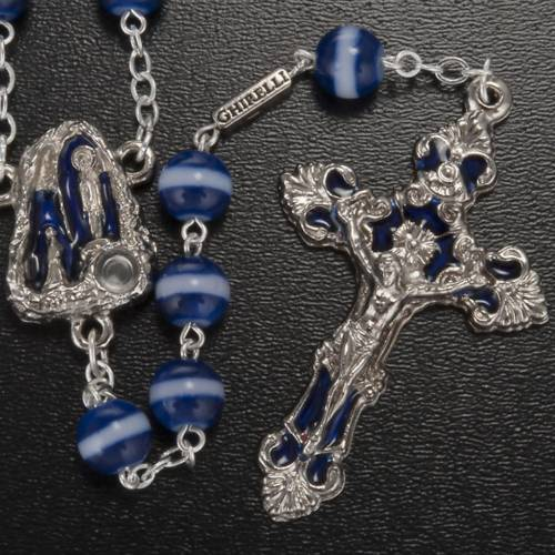 Ghirelli blue and white rosary Lourdes Grotto 8mm s2