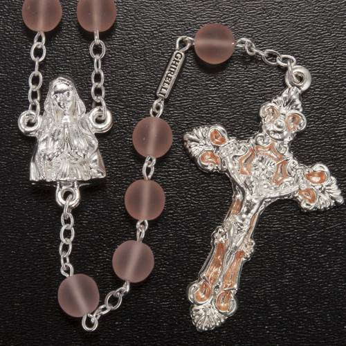 Ghirelli pink rosary Our Lady of Lourdes, glass 8 mm s2