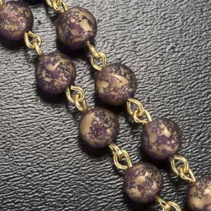 Ghirelli rosary, gold purple glass Lourdes grotto 6mm s5