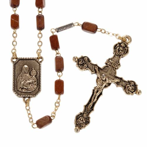 Ghirelli rosary in golden wood 8x5mm s1