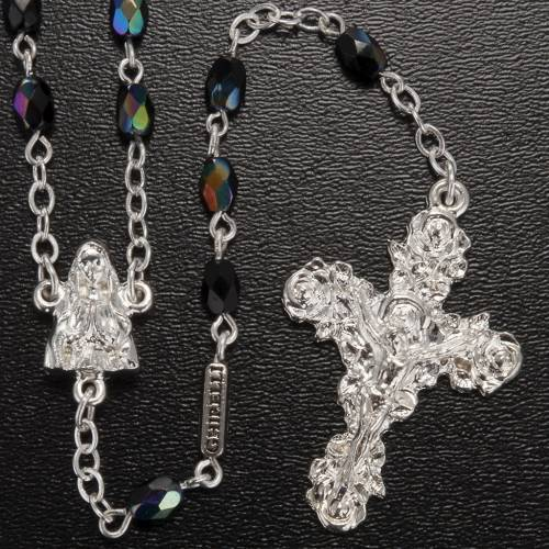 Ghirelli rosary Lourdes, black shiny glass s2