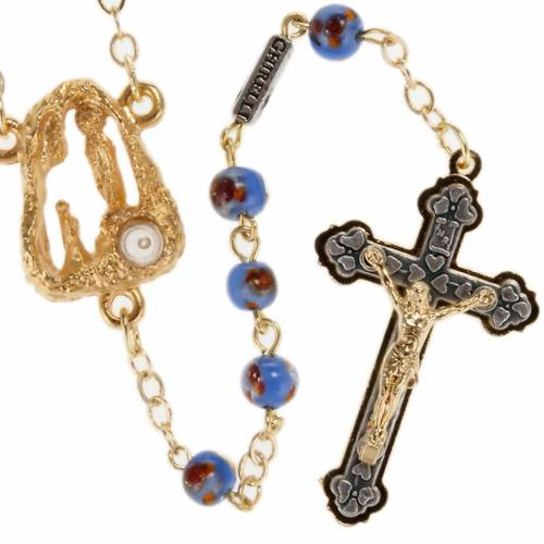 Ghirelli rosary Lourdes Grotto, bleu-orange 6mm s1