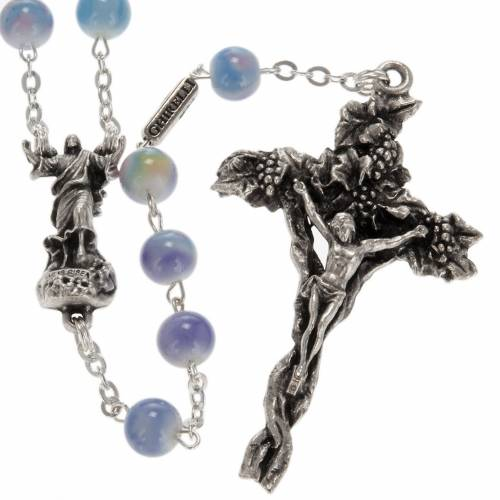 Ghirelli rosary, Resurrected Christ, multicoloured glass 7mm s1