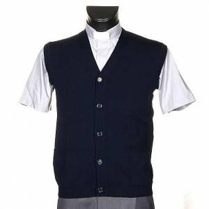 Vestes, gilets, pullovers: Gilet ouvert avec poches, bleu