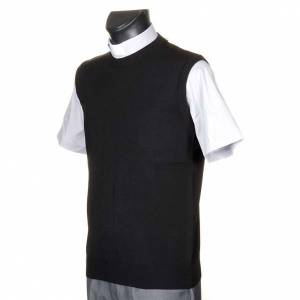 Gilet girocollo maglia unita nero s2
