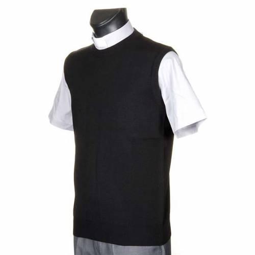 Gilet girocollo maglia unita nero 2