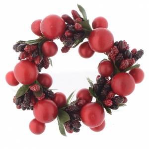 Decori natalizi per la casa: Girocandela di Natale rosso con bacche rosse candele 4 cm