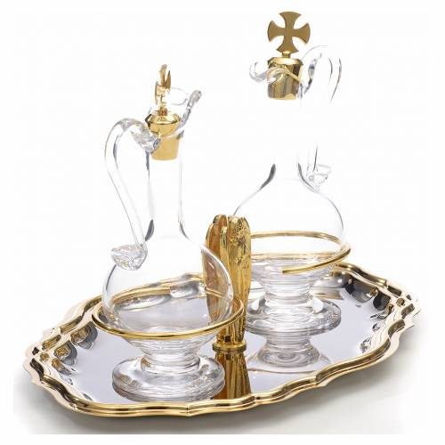 Glass cruet set, angel with joint hands s2