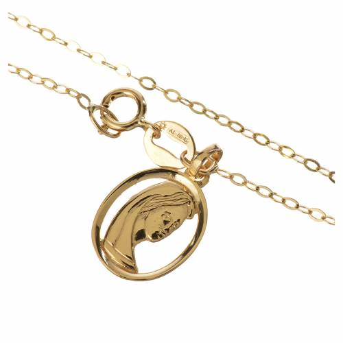 Gold chain with Virgin Mary pendant in 18k gold 1,74 grams s2