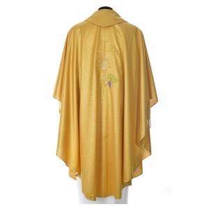 Gold Chasuble in wool and lurex with Chi-Rho, monstrance, wheat s3