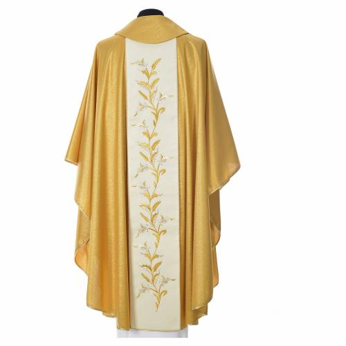 Gold chasuble in wool with double twisted yarn and embroidery s4