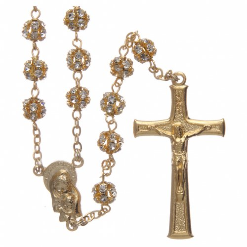 Gold rosary with strass crystal grains 6 mm s1
