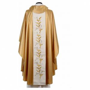 Golden chasuble in pure wool and lurex with wheat embroidery s3