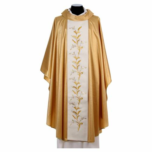 Golden chasuble in pure wool and lurex with wheat embroidery s1