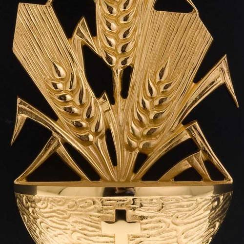 Golden Holy Water font with ears of wheat s5