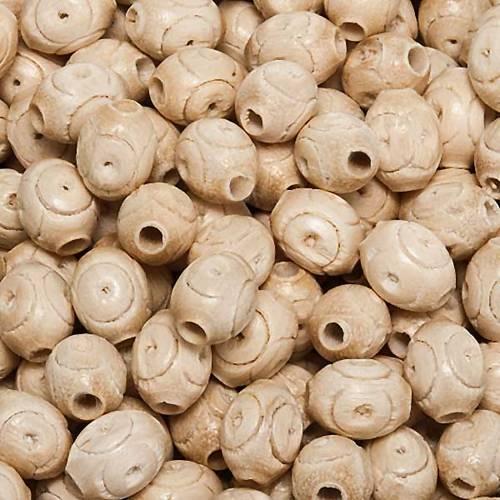 Grani rosari legno lavorato colore acero ovale s1